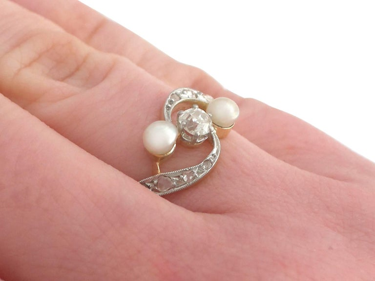1920s Antique Pearl and Diamond Yellow Gold Twist Ring For Sale 3