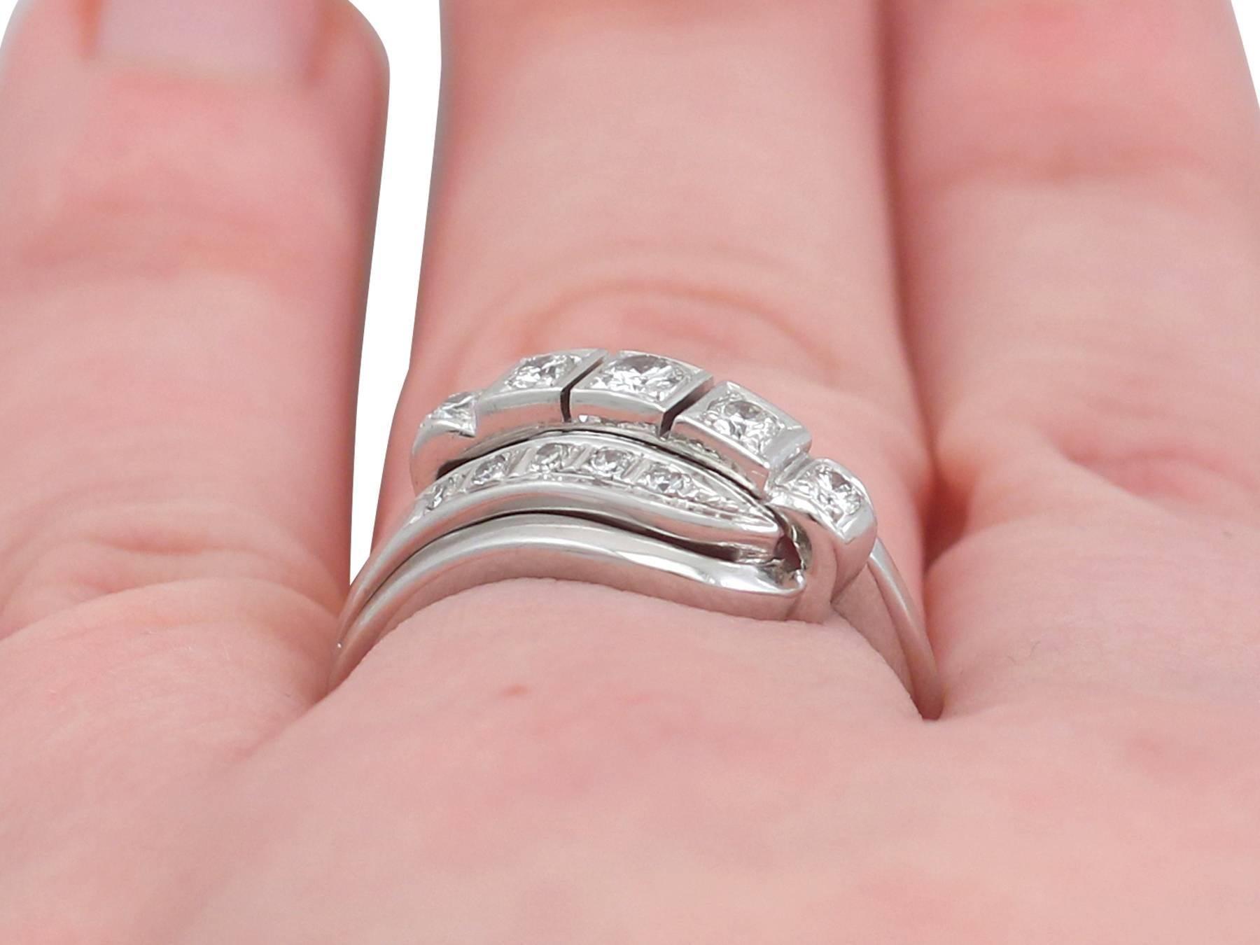 1950s Diamond and 14 Karat White Gold Dress Ring For Sale at 1stdibs