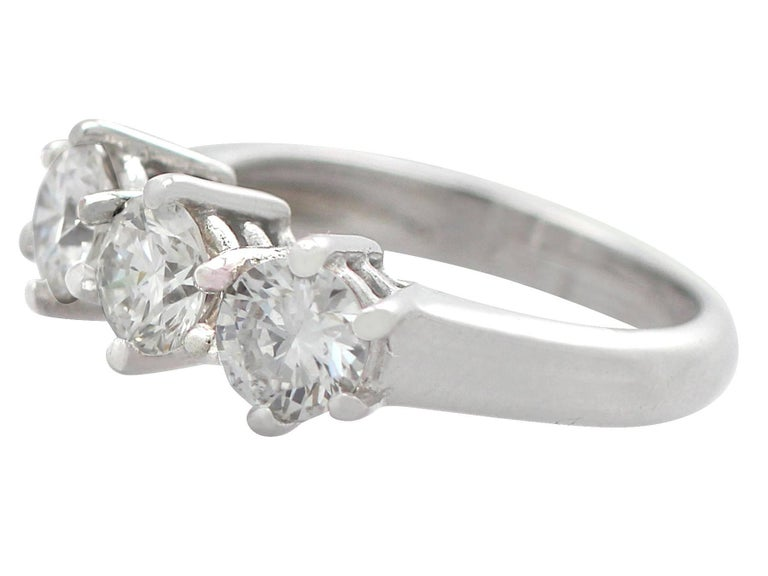 Women's 1980s 1.18 Carat Diamond and 18 Karat White Gold Trilogy Ring For Sale