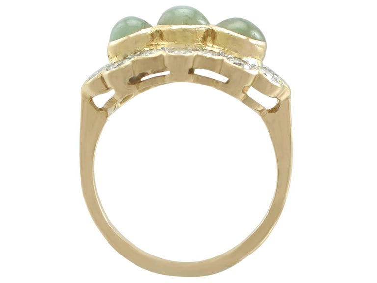 Women's 1970s 2.19 ct Chrysoberyl and Diamond 18k Yellow Gold Dress Ring For Sale