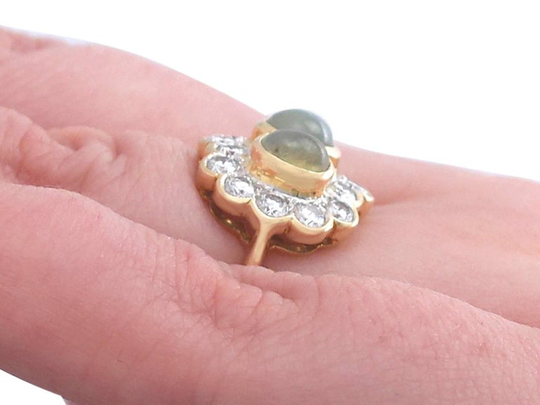 1970s 2.19 ct Chrysoberyl and Diamond 18k Yellow Gold Dress Ring For Sale 3
