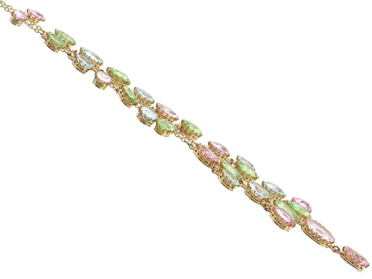 Women's 1900s 25.87 Ct Rose Quartz Peridot, Aquamarine and 18k Yellow Gold Necklace For Sale