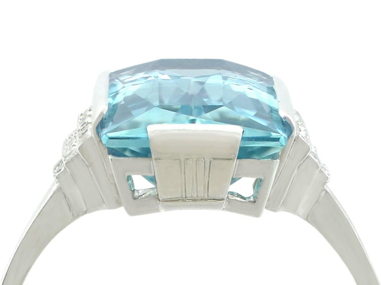 A stunning antique Art Deco 6.47 carat aquamarine and 0.36 carat diamond, 14 karat white gold cocktail ring; part of our diverse antique jewellery collections  This stunning, fine and impressive large aquamarine cocktail ring has been crafted in 14k
