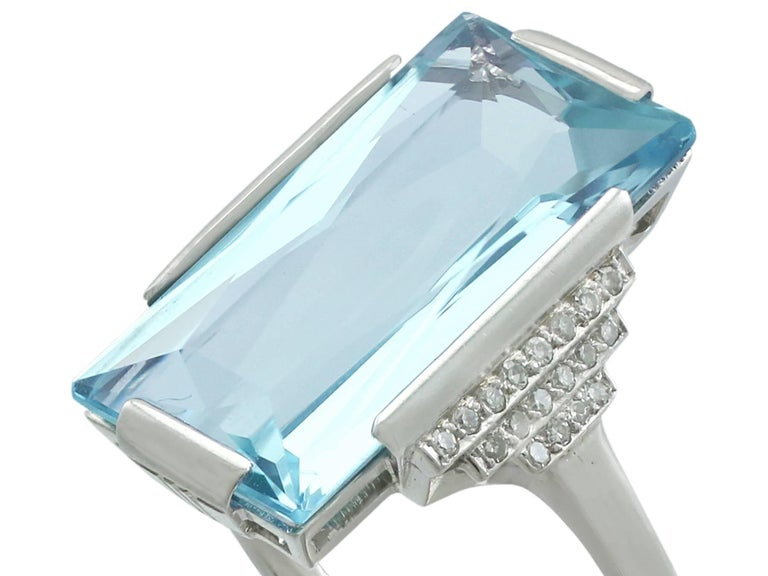 Art Deco 1930s Antique 6.47 Carat Aquamarine and Diamond White Gold Cocktail Ring For Sale