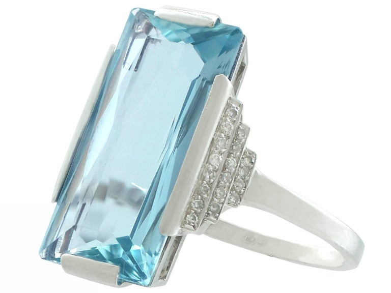 Emerald Cut 1930s Antique 6.47 Carat Aquamarine and Diamond White Gold Cocktail Ring For Sale