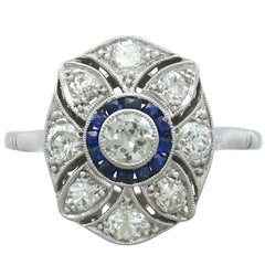 1940s Diamond and Sapphire Platinum Cocktail Ring
