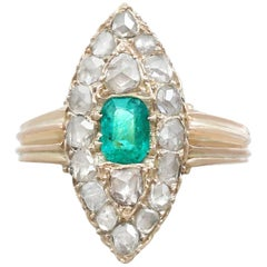 Antique Emerald and 1.78 Carat Diamond Yellow Gold Marquise Ring