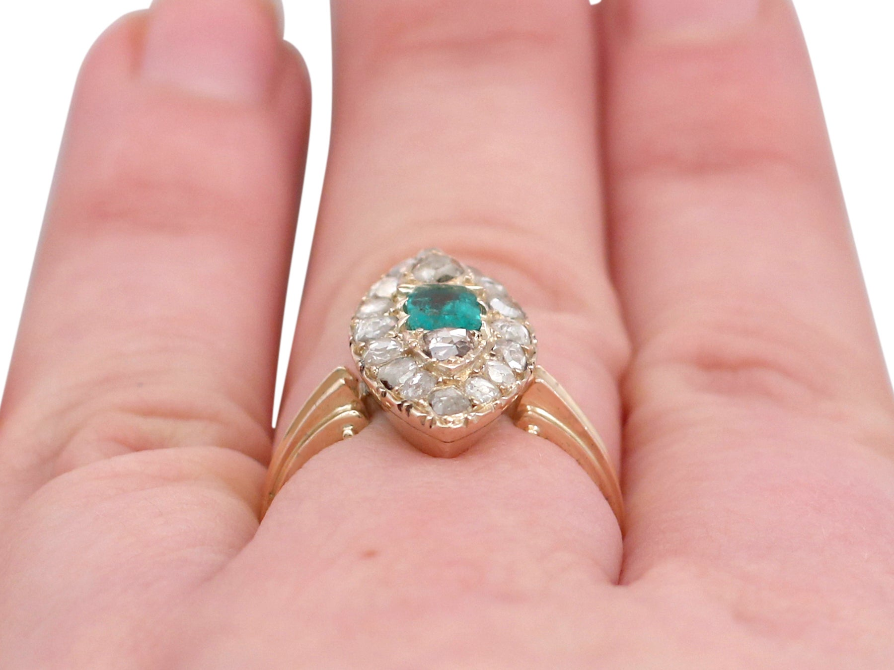 Antique Emerald and 1.78 Carat Diamond Yellow Gold Marquise Ring For ...