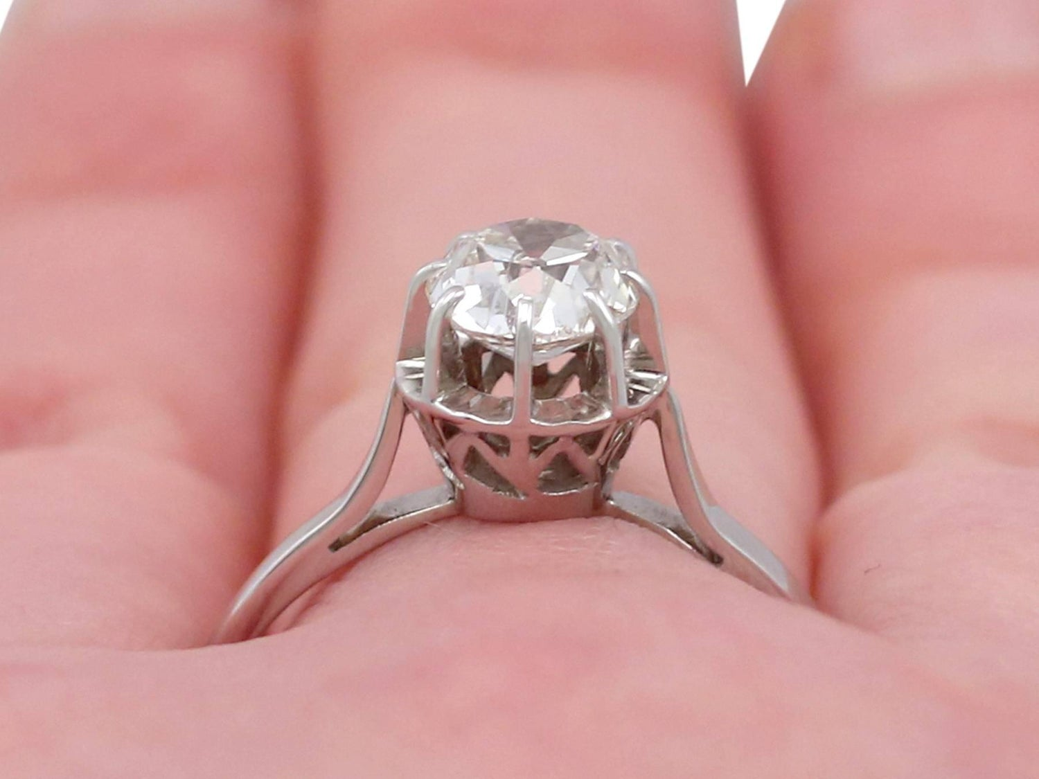 1920s French 1.70 Carat Diamond White Gold Solitaire Ring For Sale ...