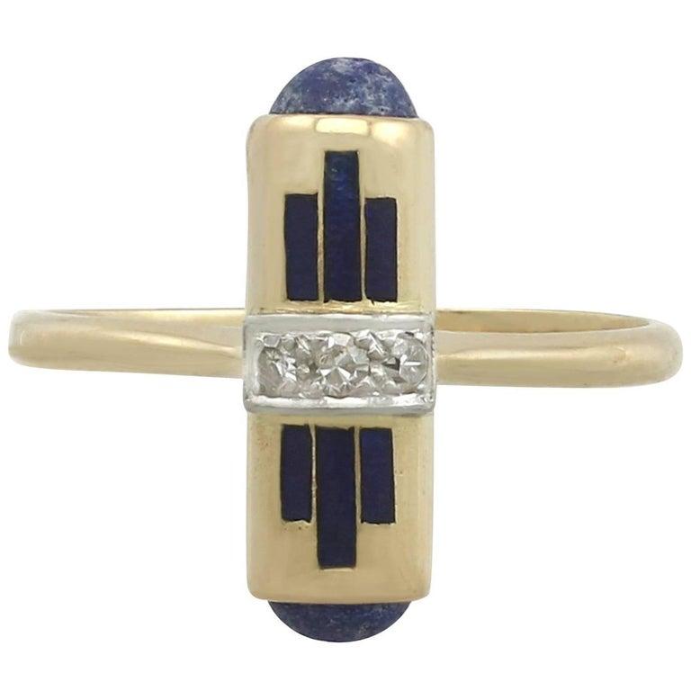 1920s Lapis Lazuli and Diamond, Enamel Yellow Gold Cocktail Ring