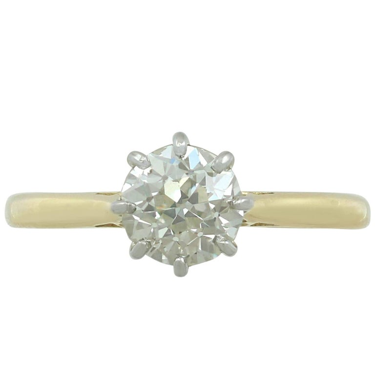 1920s Antique 1.25 Carat Diamond and Yellow Gold Platinum Set Solitaire Ring