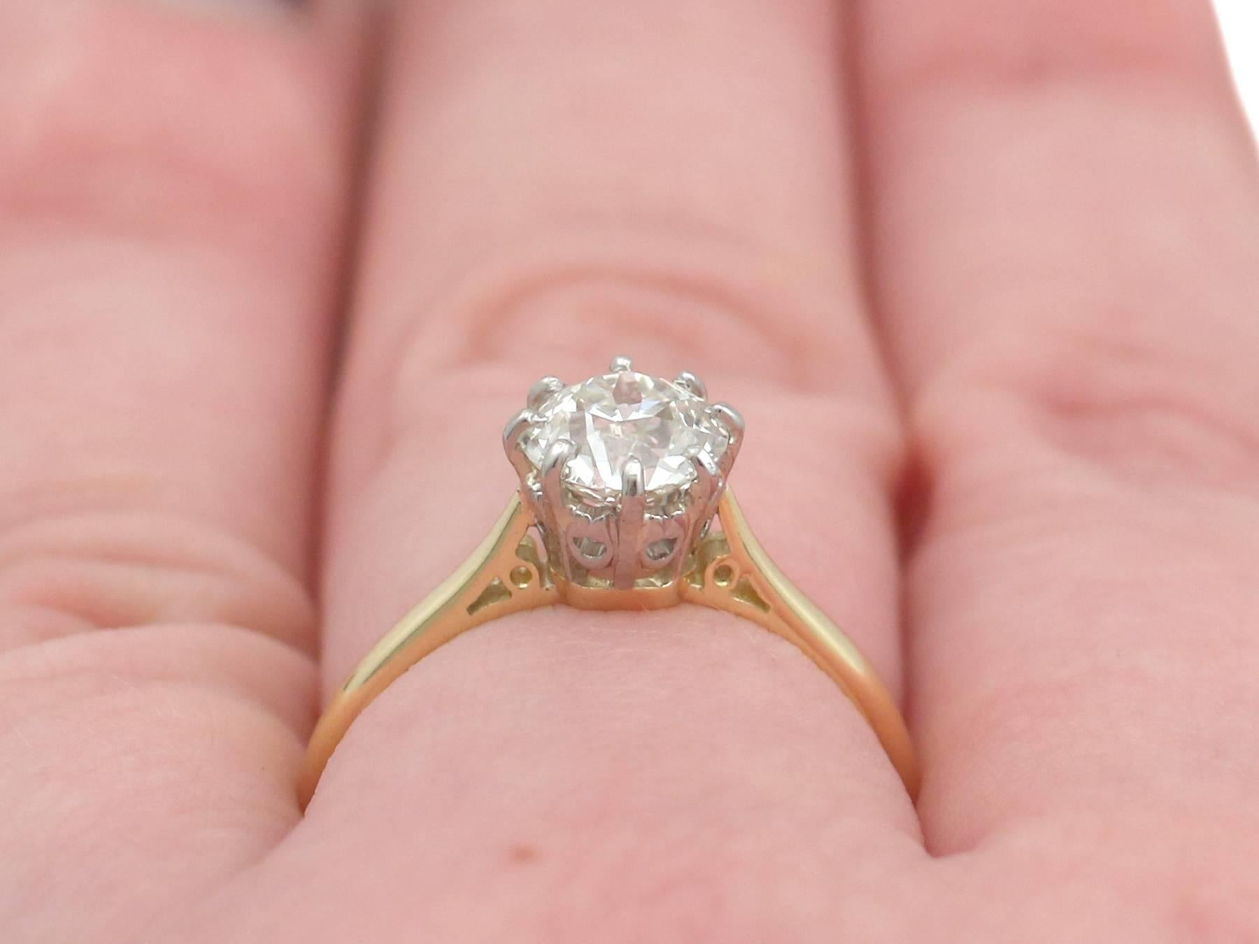 1920s Antique 1.25 Carat Diamond and Yellow Gold Platinum Set ...