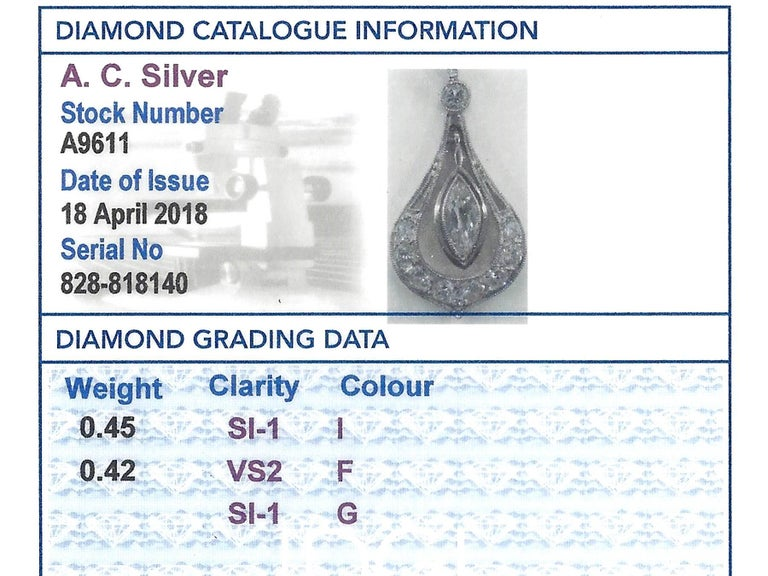 1930s Antique Diamond and Platinum Pendant For Sale 2