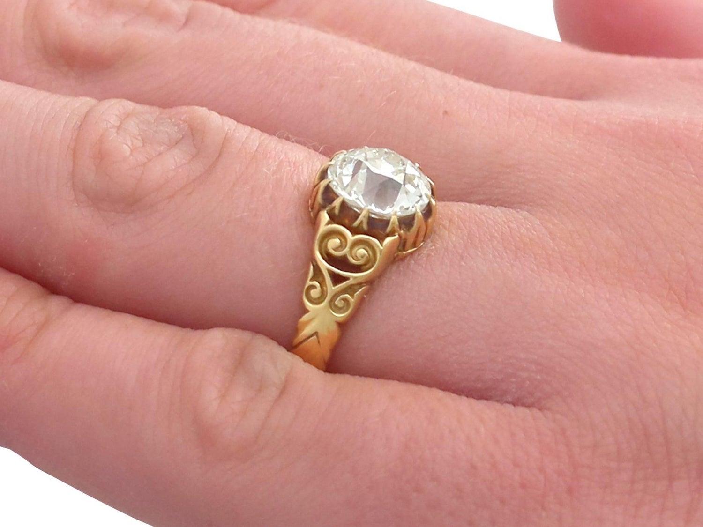 Antique Victorian 2.30 Carat Diamond 18 Karat Yellow Gold Solitaire ...