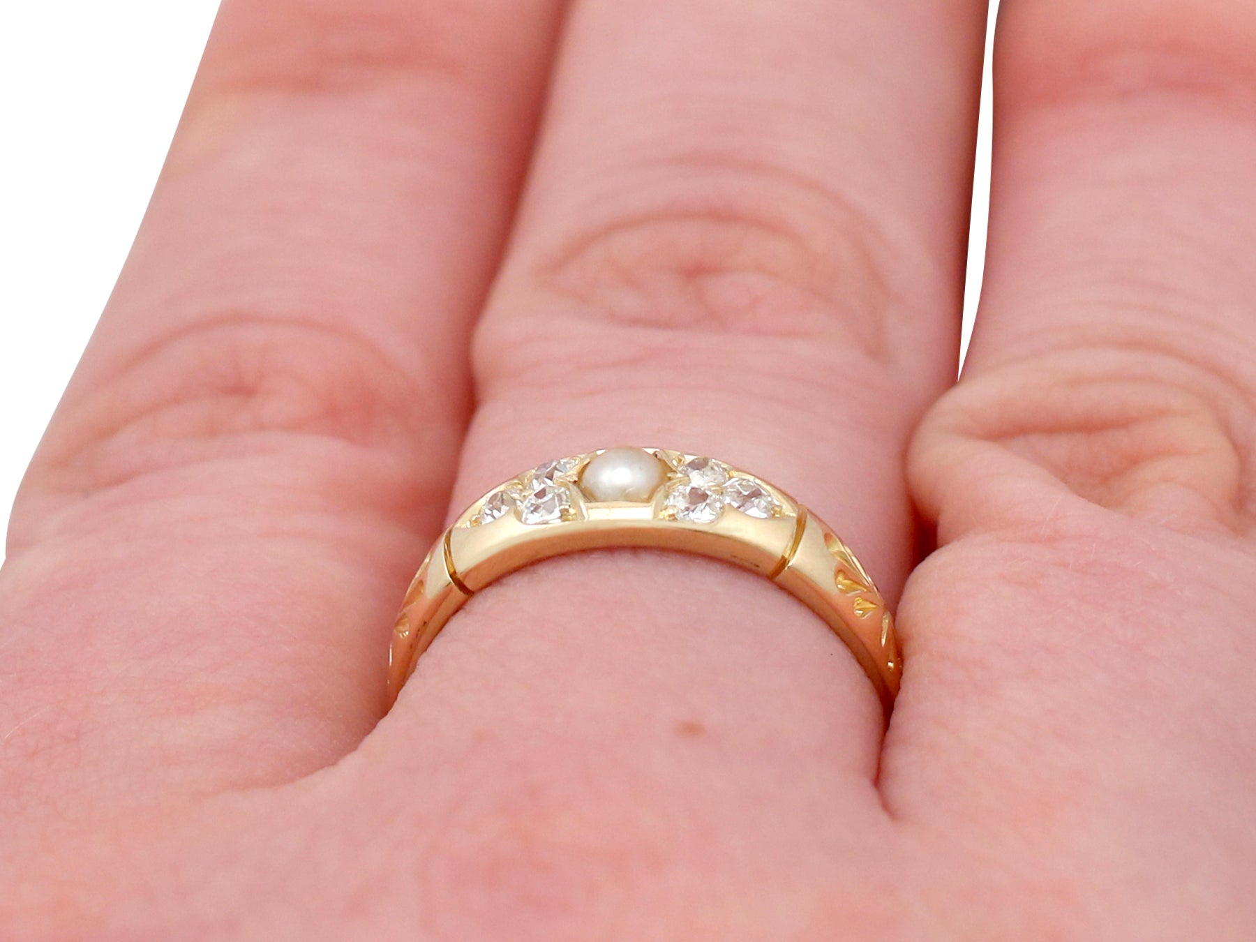 1888 Antique Victorian Seed Pearl and Diamond Yellow Gold Dress Ring ...