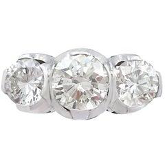 Vintage 2.17 Carat Diamond and Platinum Trilogy Ring