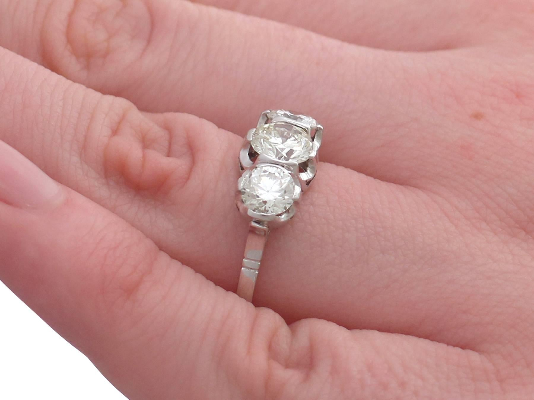 Vintage 2.17 Carat Diamond and Platinum Trilogy Ring For Sale at 1stdibs