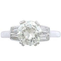 1950s 1.52 Carat Diamond Platinum Solitaire Engagement Ring