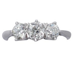 Antique and Contemporary 1.47 Carat Diamond Platinum Three-Stone Ring