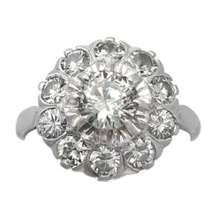 1950s 1.35 Carat Diamond White Gold Cluster Ring