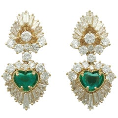 2.48 Carat Emerald and 7.05 Carat Diamond Yellow Gold Earrings