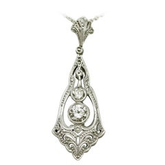 Antique Diamond and White Gold Pendant, Art Deco