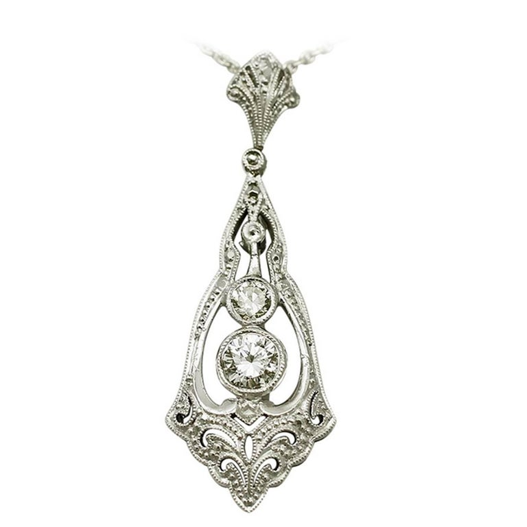 Antique Diamond and White Gold Pendant, Art Deco Style