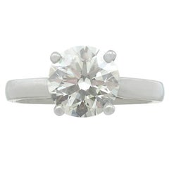Contemporary 2.29 Carat Diamond and Platinum Solitaire Engagement Ring