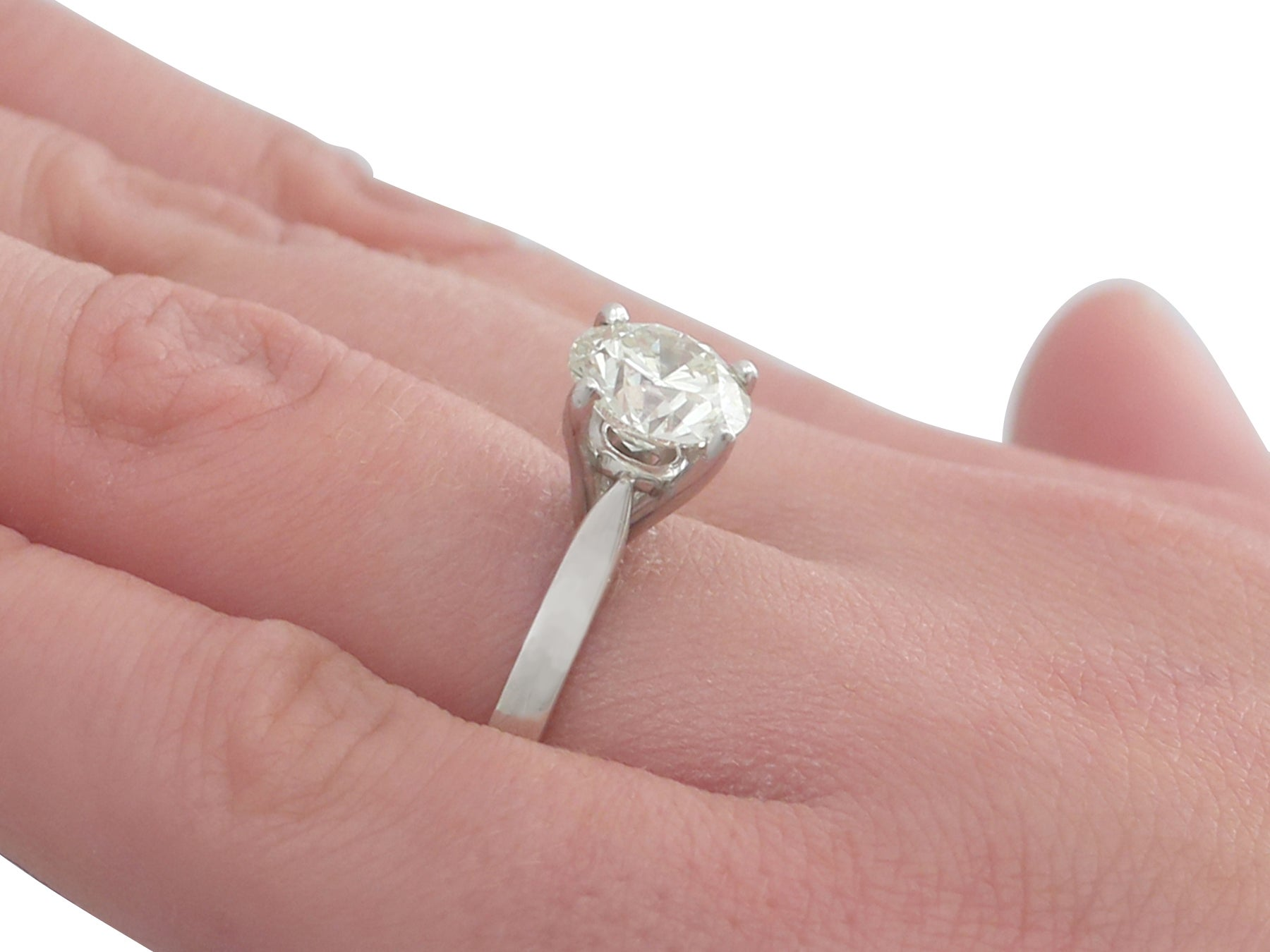 Contemporary 2.29 Carat Diamond and Platinum Solitaire Engagement ...