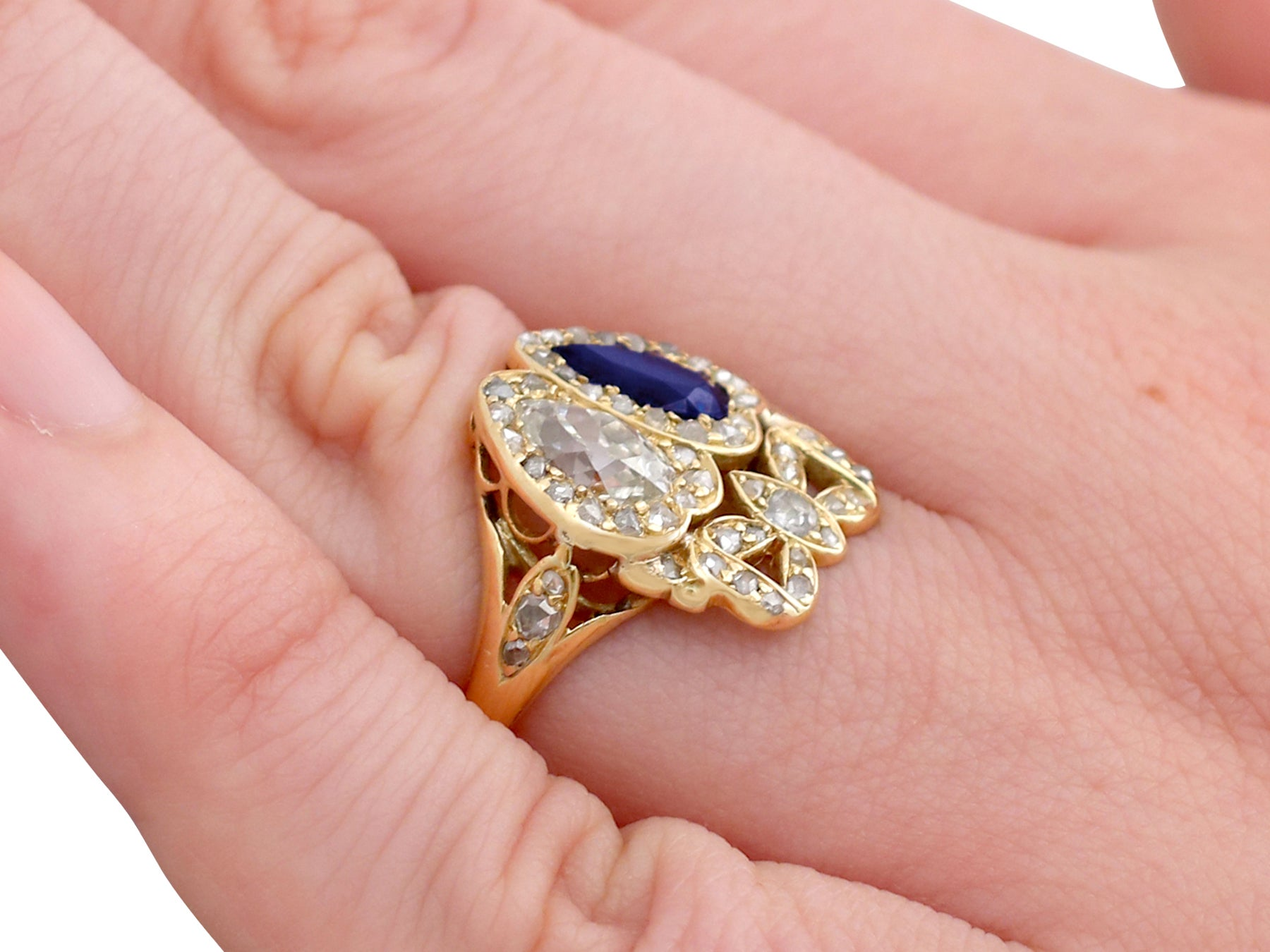 1820s 1.54 Carat Diamond and Sapphire Gold Dress Ring at 1stdibs