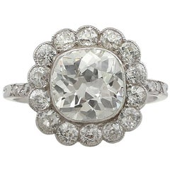 1910s 4.47 Carat Diamond and Platinum Cluster Ring