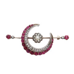 2.85 Carat Ruby Diamond and Pearl Gold Crescent Brooch