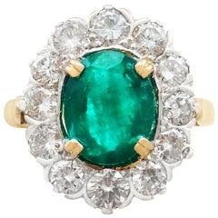 2.90 Carat Emerald and 2.38 Carat Diamond Cluster Ring