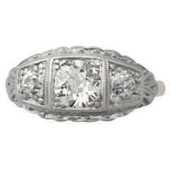 1920s 1.15 Carat Diamond Gold Dress Ring