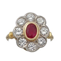 2.05 Carat Diamond and Ruby Colour Doublet Gold Cluster Ring
