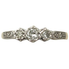 0.41 Carat Diamond and 18 Karat Yellow Gold Trilogy Ring, circa 1940