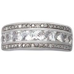 White Gold Diamond and 1.62 Carat White Topaz Cocktail Ring