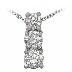 Contemporary 0.65 Carat Diamond and Platinum Trilogy Pendant