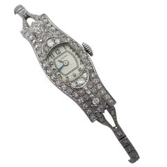 Art Deco Style 2.36 Carat Diamond and Platinum Glycine Cocktail Watch, Antique