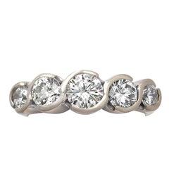 Contemporary 1.92 Carat Diamond Gold Five-Stone Ring
