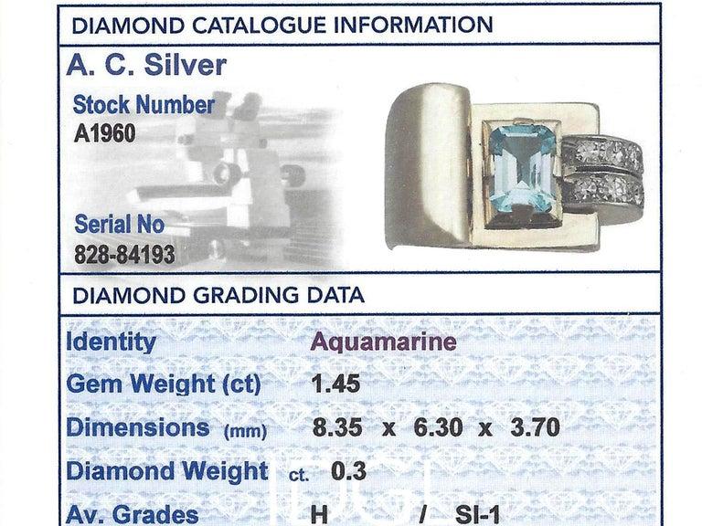 1930s 1.45 Carat Aquamarine & Diamond Yellow Gold Cocktail Ring For Sale 1