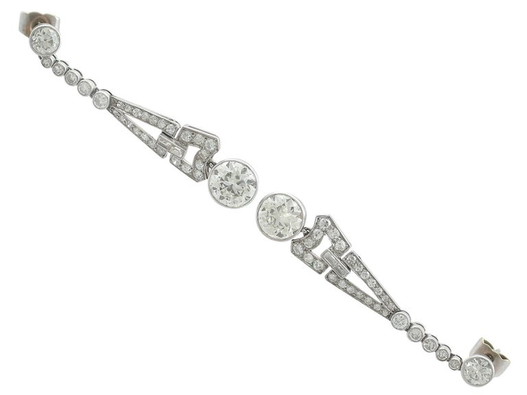 1920s 3.02 Carat Diamond Platinum Art Deco Drop Earrings 2