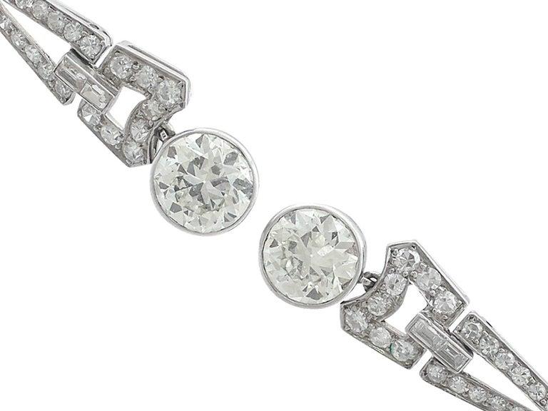 1920s 3.02 Carat Diamond Platinum Art Deco Drop Earrings 4