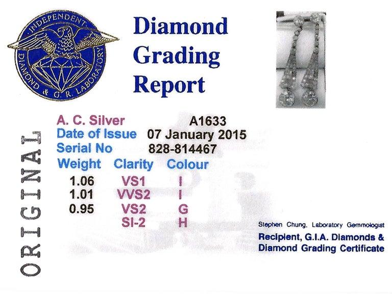 1920s 3.02 Carat Diamond Platinum Art Deco Drop Earrings 9