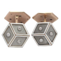 1930s French Diamond Platinum Set Rose Gold Cufflinks