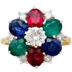 Garnet, Sapphire, Emerald and Diamond Cluster Ring