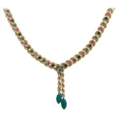 1990s Ruby, Sapphire and Chrysoprase Yellow Gold Necklace