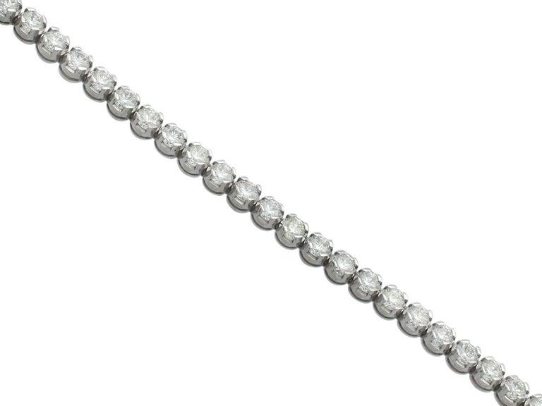 10.01 Carat Diamond White Gold Tennis Bracelet 3