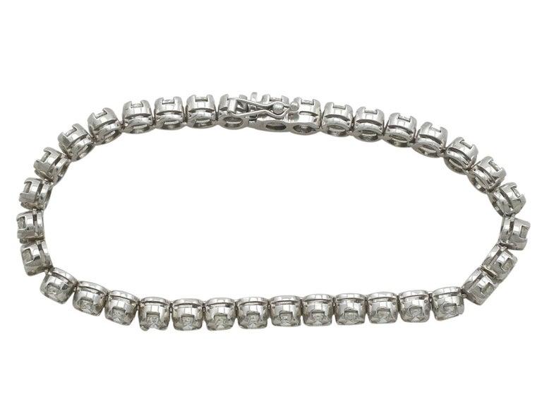 10.01 Carat Diamond White Gold Tennis Bracelet 4