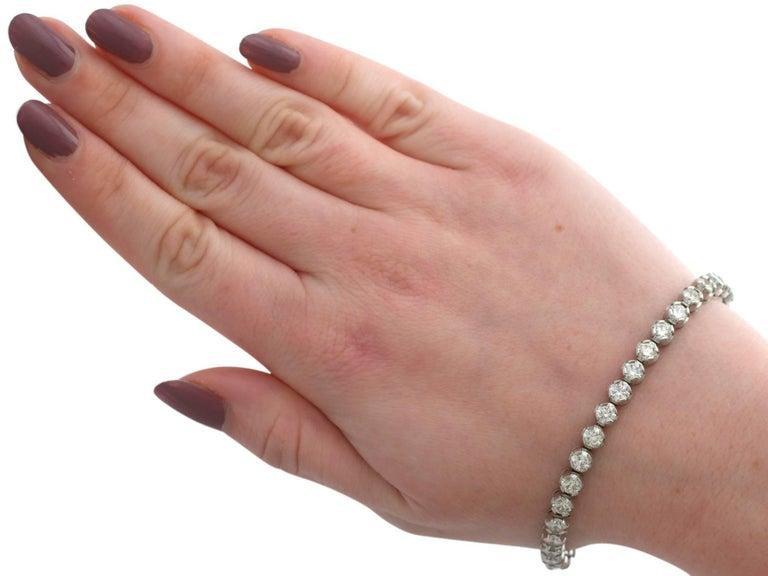 10.01 Carat Diamond White Gold Tennis Bracelet 6